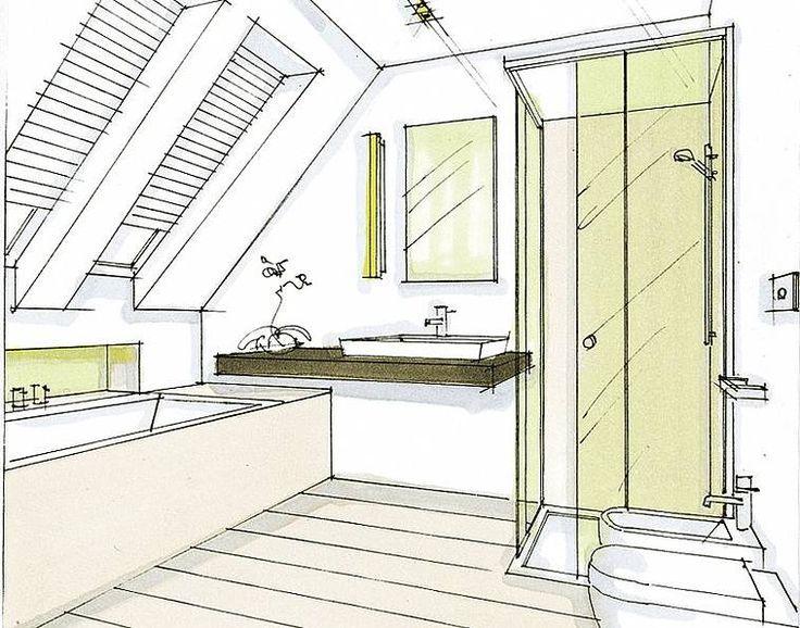 Une hauteur utile de 2 mètres (souvent davantage pour les personnes plus grandes) est nécessaire devant les toilettes et le lavabo ainsi que dans la douche. La baignoire trouvera logiquement sa place juste sous la pente car une certaine hauteur n'est requise que pour y accéder et en sortir. Tous les autres appareils peuvent ensuite être installés contre les autres murs.