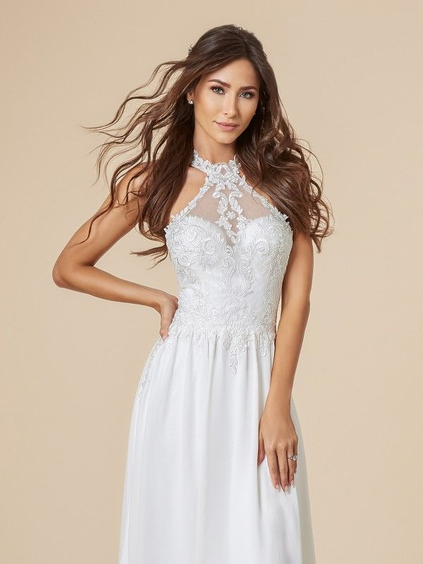 c9d368953a3 Moonlight Tango T848 is the perfect sexy destination wedding dress. The  halter neckline features lace details and is for the bride that wants to  show off ...