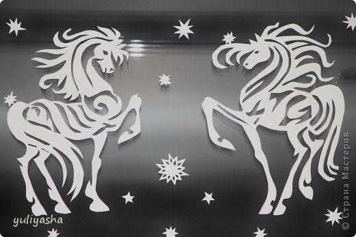 Декор предметов Новый год Аппликация Новогодние окна   Бумага фото 5