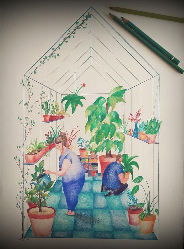 illustration, crayons de couleurs, serre, jardin, couple, plantes, fleurs, jardinage, pots de fleurs, carrelage