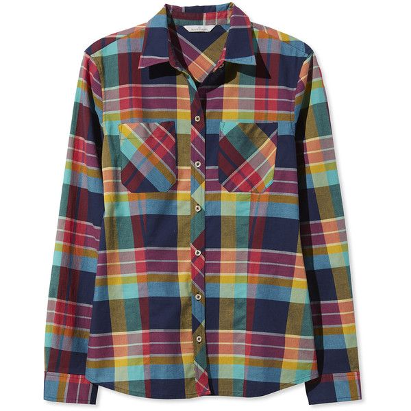 L.L.Bean Signature Signature Women's Madras Shirt, Long-Sleeve ($45) ❤ liked on Polyvore featuring tops, madras shirt, fitted tops, shirt tops, print top and pattern shirt