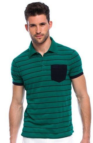 Allover Stripe Polo - Knit Tops - Mens - Armani Exchange