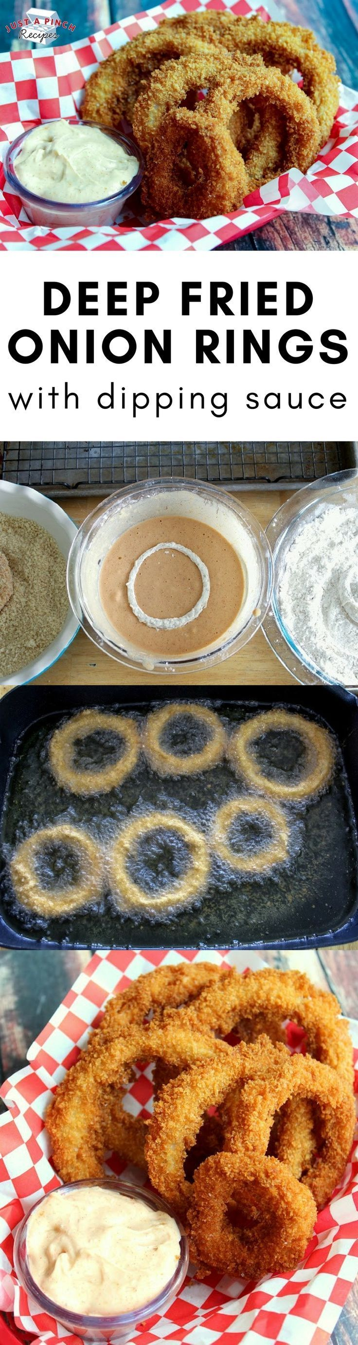 Homemade crispy onion ring recipe that is better than anything you'll have at a restaurant! #sidedish #recipesides