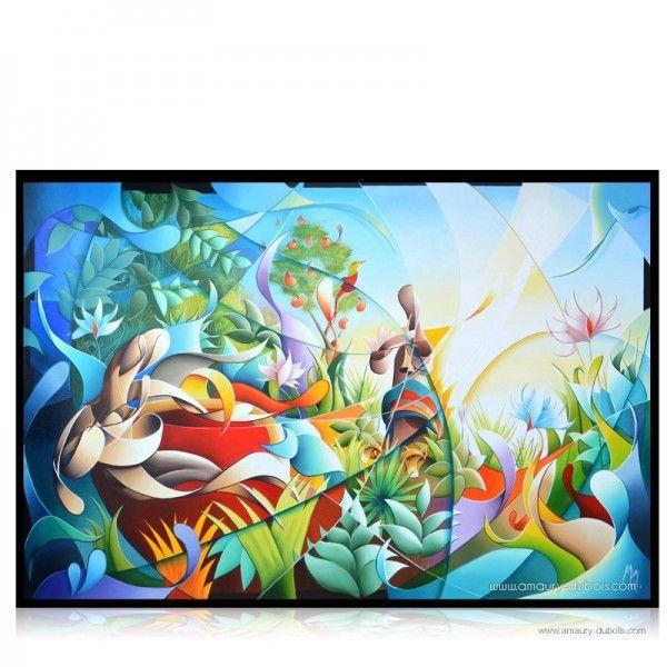 tableau moderne color jungle paradise art peinture. Black Bedroom Furniture Sets. Home Design Ideas