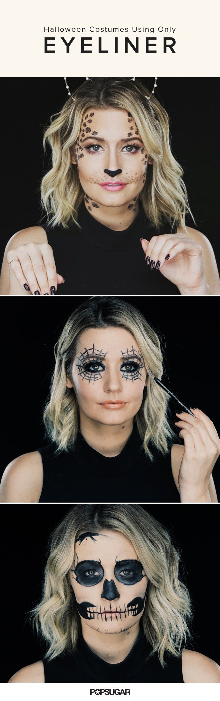 3 Halloween Costumes Using Only Eyeliner