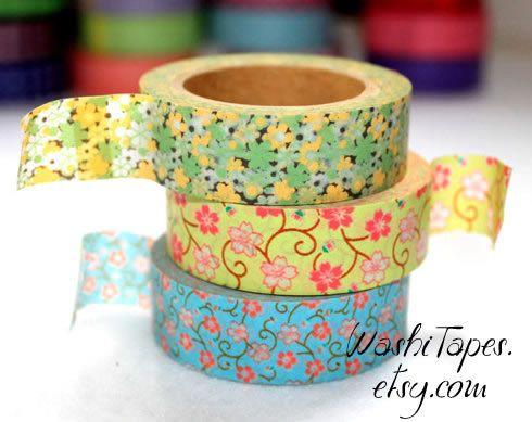 Washi Tape Set  - Japanese Washi Tape Set - 3 rolls - COMBO24. $9.00, via Etsy.