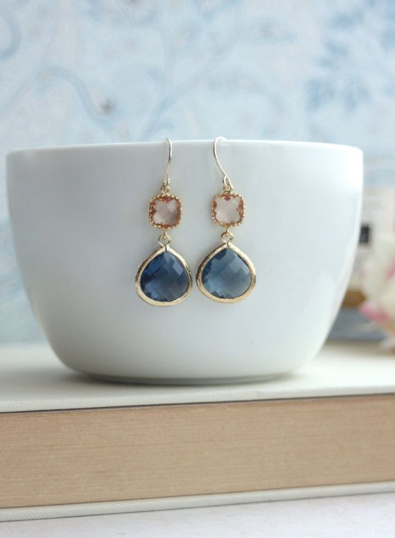 Champagne Peach, Dark Sapphire Blue Glass Framed Jewel French Drop Earrings.  Bridesmaid Gifts. Modern Everyday. Maid Of Honor. Blue Wedding