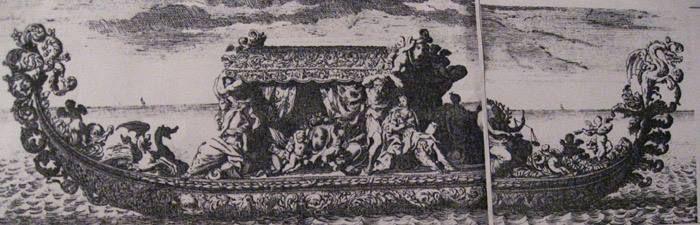 Jean Le Pautre (d'après Louis Dorigny) - Gondole pour la flottille de Versailles, Le Mercure Galant, mai 1683 – Paris, Bibliothèque Nationale de France