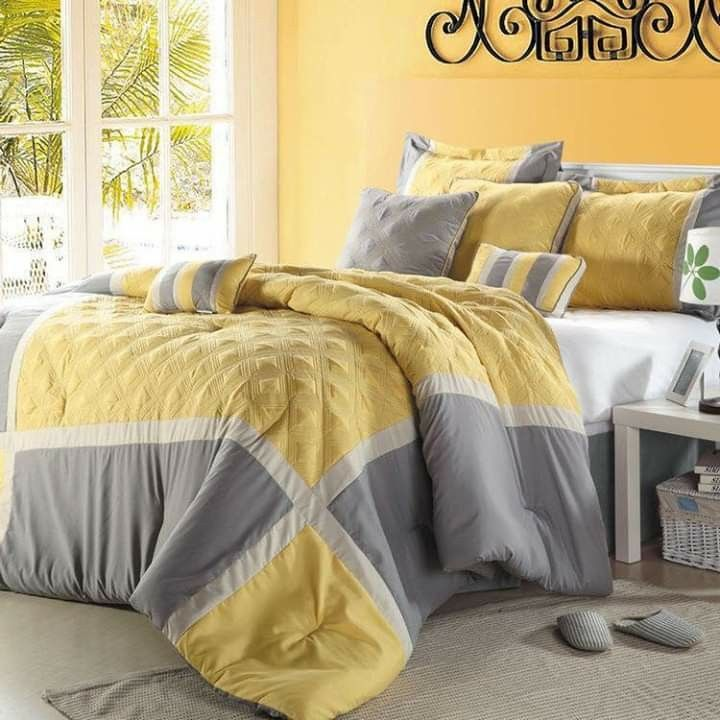 Pin By Debra On Bedroom Grey Bedroom Design Yellow Gray Bedroom Yellow Comforter