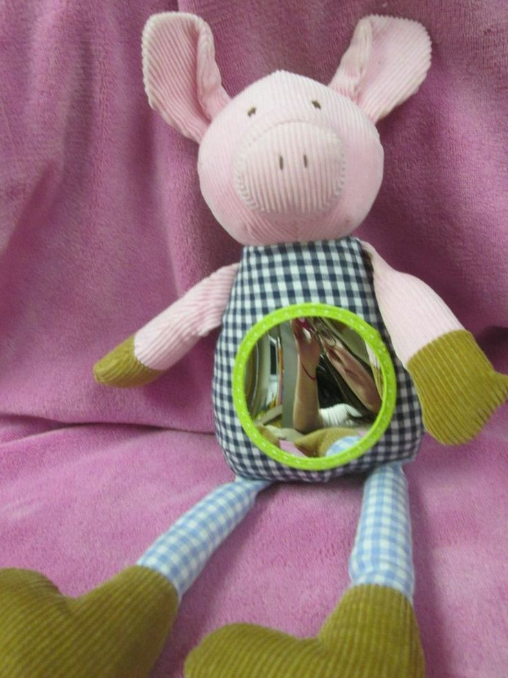"Pottery Barn Kids Pink Pig Vibrating  Oinking Mirror Plush Stroller Crib Toy 13"" #PotteryBarnKids"