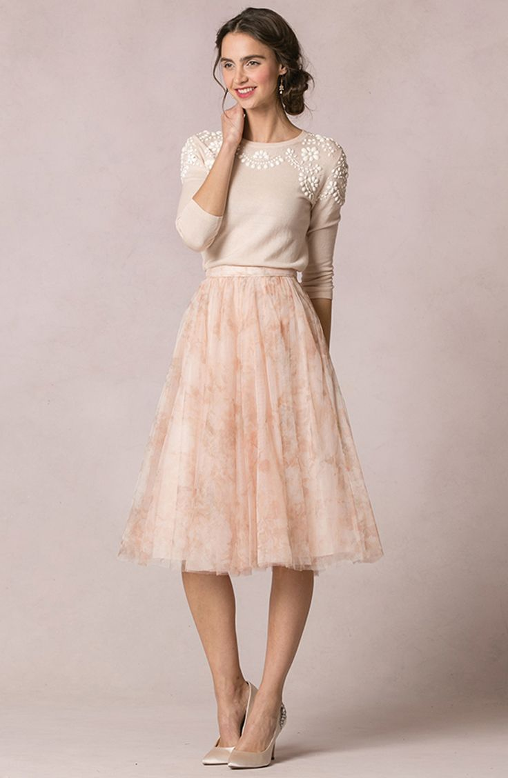 "Mix + Match ""Lucy"" Tulle Skirt + ""Millie"" embellished sweater 