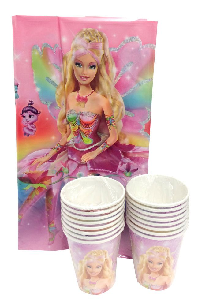 Barbie Fairytopia Fairy Girl's Party Pack-Plastic Tablecover and 16 Plastic Cups