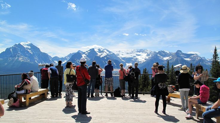 Lake Louise Tourists by Karen Theuser-Scheib