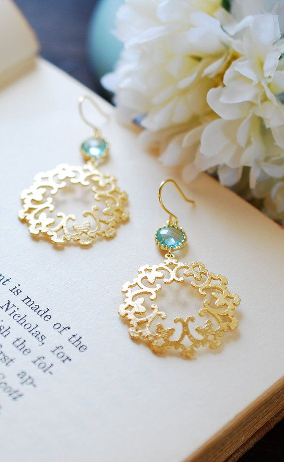 Aqua Blue Drop Earrings Gold Filigree Dangle Earrings by LeChaim, $26.00