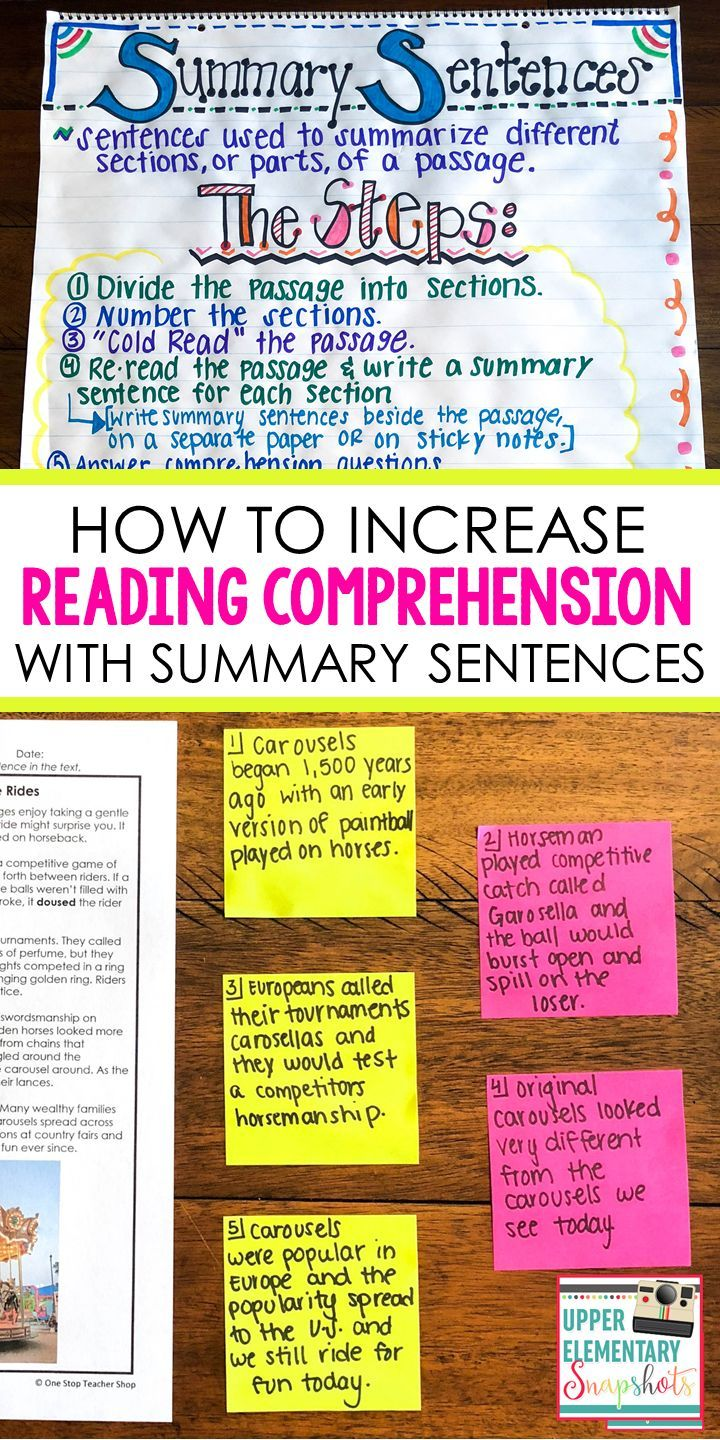 Increase Reading Comprehension with Summary Sentences