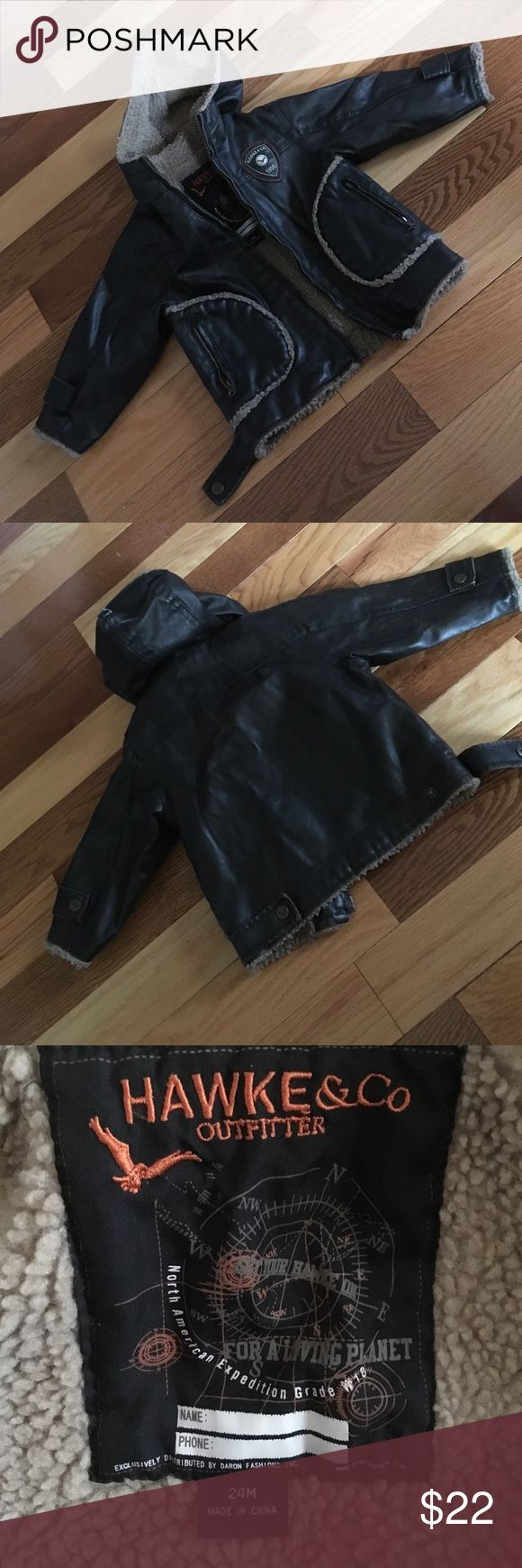 Toddler bomber Jacket Sz 24 mos Fully lined with lined hood. Zips up the front. Two front zippered  pockets. Excellent condition. Hawke & Co Jackets & Coats