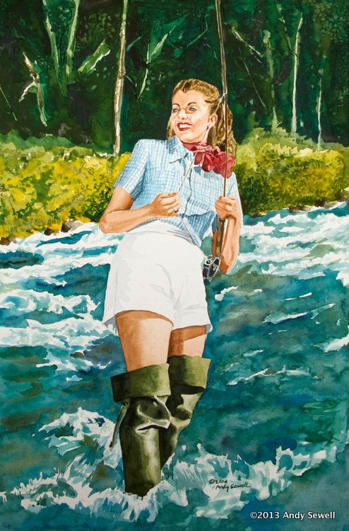 Fly fishing pinup 6 x 12 Archival Vintage by AndySewellFineArt