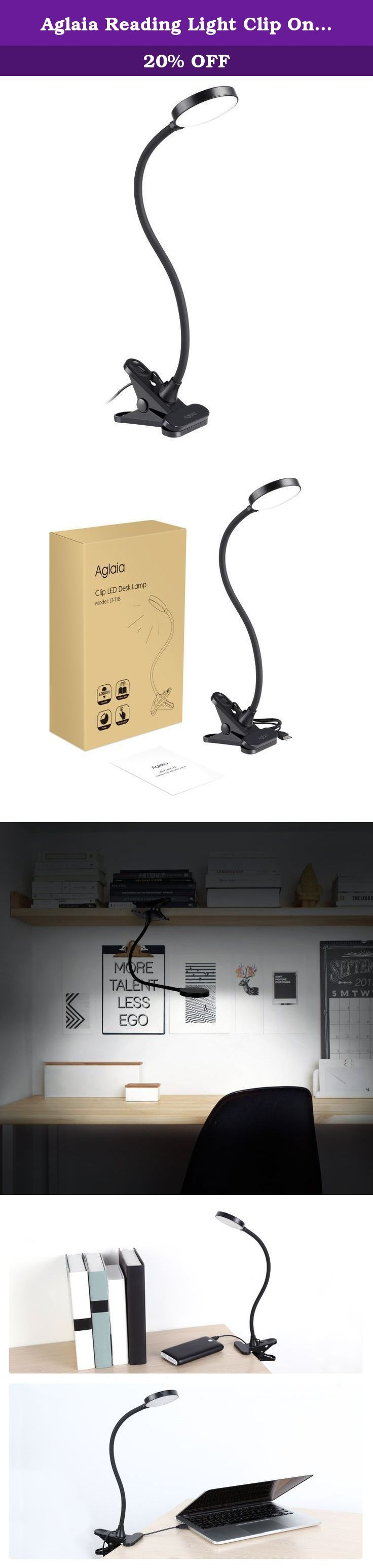 Aglaia Reading Light Clip On 3W, Eye Care Desk Lamp 15 LEDs with Touch Control and Gooseneck, USB Powered for Writing Studying and Working (Black). Touch Control This LED clamp desk lamp with touch control can be easily controlled by touching. Just tap the power button on the back of the lamp head to turn on / turn off the light . Energy Saving Desk Lamp The LED desk lamp with incredibly power-efficient components and design, which helps you save more energy and cost less electricity…