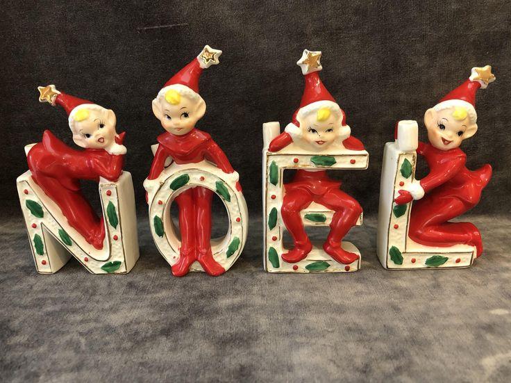 Vintage christmas holiday elf elves on NOEL letters japan by GreatNorthVintageCo on Etsy