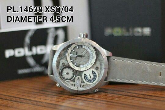 POLICE watch  Article : PL 14638 XSQ - 04 Price : IDR 2.500.000 Diameter : 4,5 cm  Material : Leather grey - ring stainless titanium grey Garansi mesin 1 tahun international