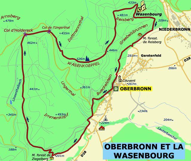 """Carte du circuit de randonnée """"OBERBRONN ET LA WASENBOURG"""""""