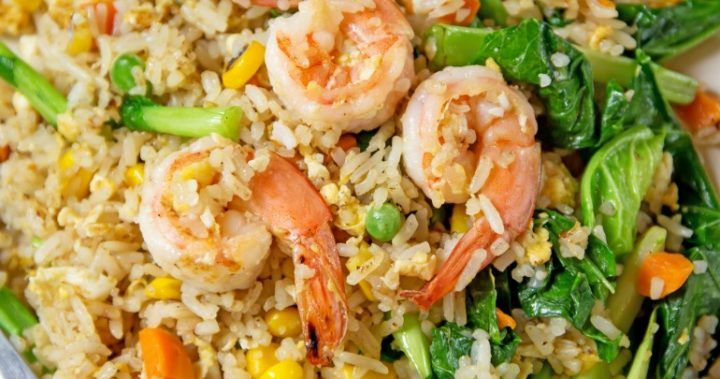 Healthy prawn fried rice Forget the stodgy takeaway, this fried rice is light, fluffy and full of flavour.