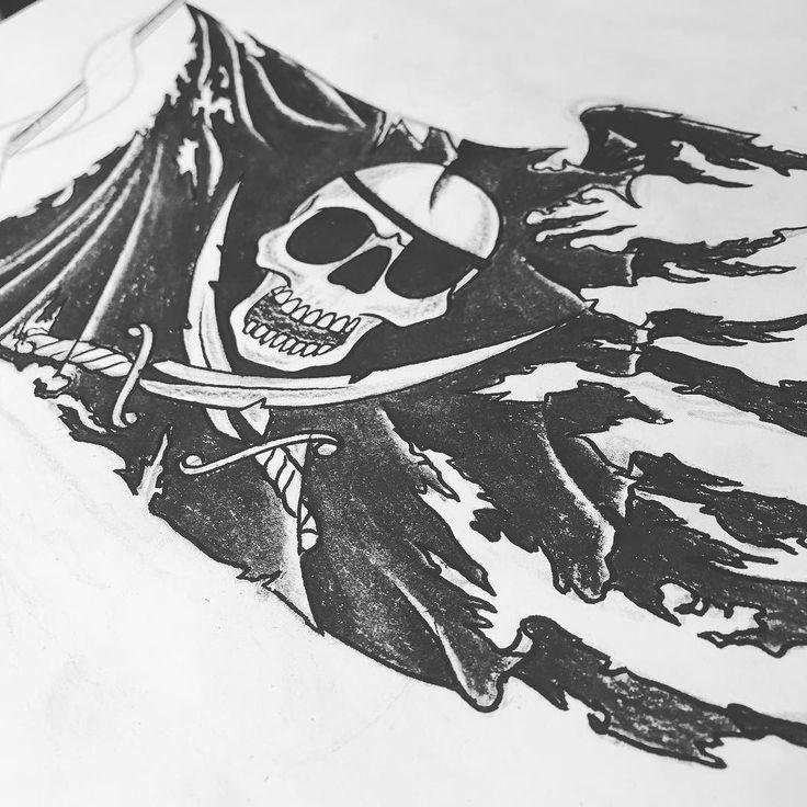 Working on a #jollyroger #pirate tattoo for a badass client ! #tattoo #flag #torn #tattered #jerseycitytattoo #jerseycityart #jerseycity #bodyartsouljc #bodyandsouljc #njtattoo #nj #newjersey #tattooart #tattooartist #tattoodesign #tattooflash #tattoolife #tat #tattooed #argh
