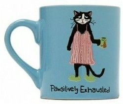 """Good morning! How are you today? Are you """"Pawsitively exhausted?"""" We hope not but if you are just grab this Hatley coffee mug for a smile! #blackcats #hatley #coffeemugs"""