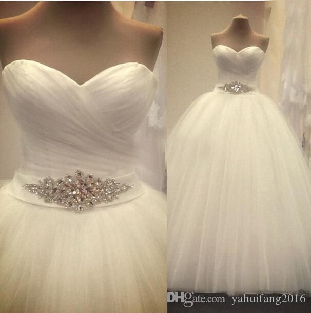 2016 Fashion Design Real Photo Bling Crystal Ball Gown Wedding Dresses Ruched Tulle Vestido De Casamento Ball Gown Wedding Dresses 2016 Strapless Dress Floor Length Bridal Gowns Online with $200.76/Piece on Yahuifang2016's Store | DHgate.com