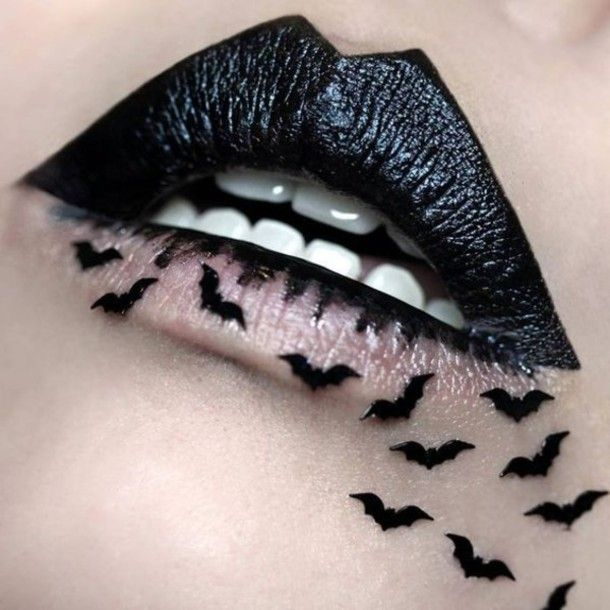 Gothic lips , fantasy Make-up, worth wearing, a look that tempts all to kissing , for that dark valentine's party or wicked ball : black batman bat halloween dark lipstick halloween makeup