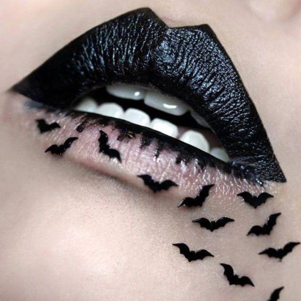 Make-up: black batman bat halloween dark lipstick halloween makeup                                                                                                                                                                                 More