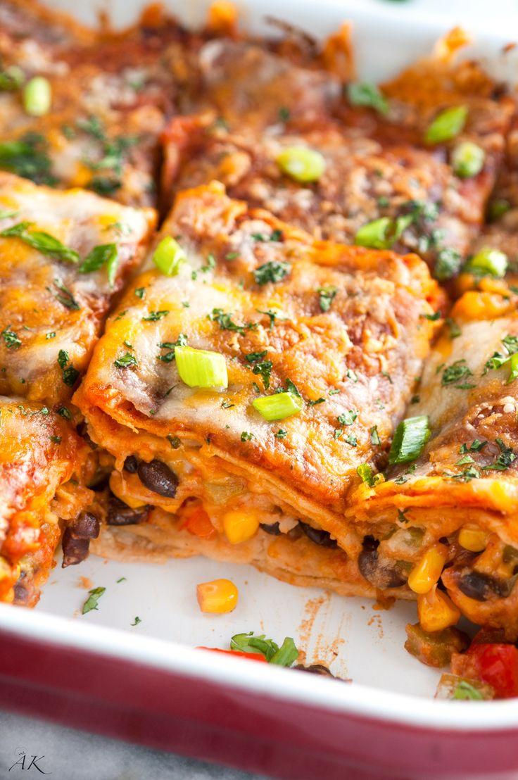 Vegetarian Black Bean and Corn Enchilada Casserole
