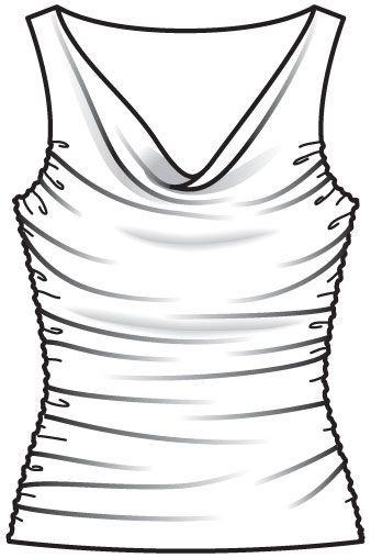 Burda 2013/06 - Un grand col bénitier et des coutures latérales drapées donnent tout son chic à ce top en jersey fluide coupé dans le biais. T34-44