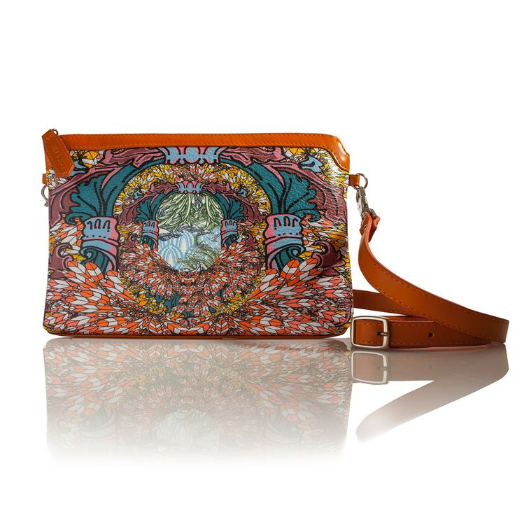 COMING SOON...Fancy Me (Rectangle) Cross-body leather handbag  INSPIRATION  This print is an explosion of printed feathers. Followed by a flock of birds trying to break through to this world.    INFORMATION  Rectangular soft shoulder bag. All leather, with leather trim in soft orange calf skin leather. Detachable and adjustable cross strap for easy wear.  SIZE  Height: 16cmcm  Width: 26cm  Strap: 114cm  Depth 3cm  www.lisaryderdesigns.ie