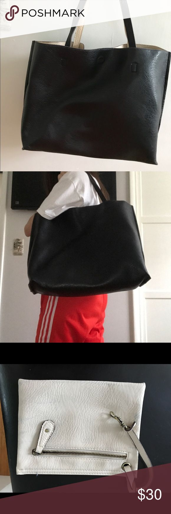 Large black tote bag Black leather large tote. Inside is white/cream and the bag is reversible comes with a small coin pouch that hangs inside bag Free People Bags Totes