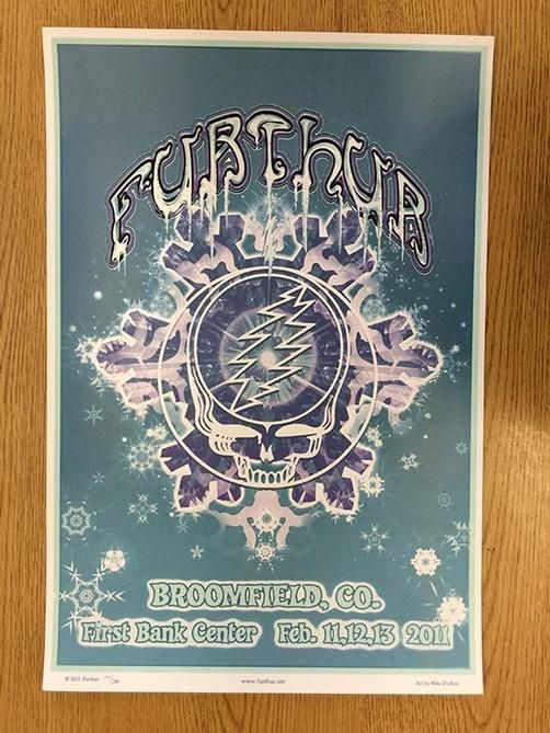 Original silkscreen concert poster for Furthur at The First Bank Center in Broomfield, CO in 2011.  15 x 22 inches. Numbered 102/300 by the artist Mike DuBois.