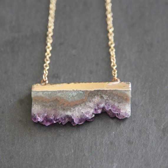 24k Gold Dipped Purple Amethyst Druzy Crystal Pendant 18k Gold Chain Necklace Drusy Druse February Birthstone