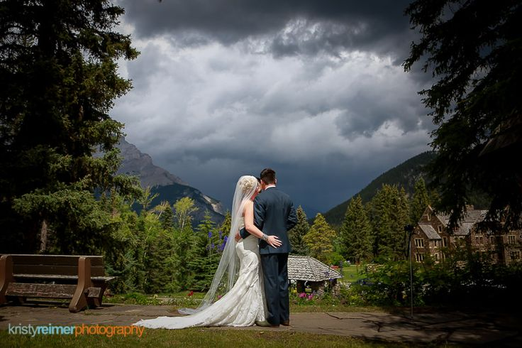 Wedding ceremony with storm clouds