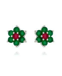 brinco delicado de flor com banho de rodio e zirconias esmeraldas e rubi semi joias para o dia a dia