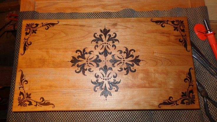 Wood burned art cutting board made from recycled cherry cabinet door. ~ JT
