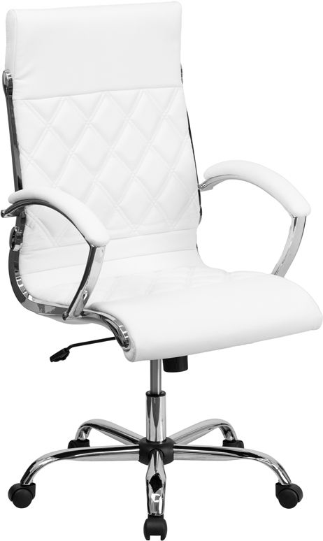 This elegant office chair will add an upscale appearance to your office with its attractive stitched seat and back. The comfort molded seat has built-in lumbar support and features a locking tilt mechanism for a mid-pivot knee tilt. If you're looking for a modern office chair that provides a sleek look, then the Designer Upholstered Leather Office Chair by Flash Furniture delivers.