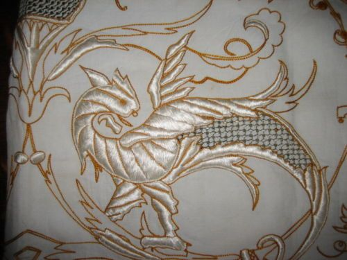 Gorgeous Vintage Embroidered Gryphon Griffin Cutwork Linentable Cloth Napkins | eBay