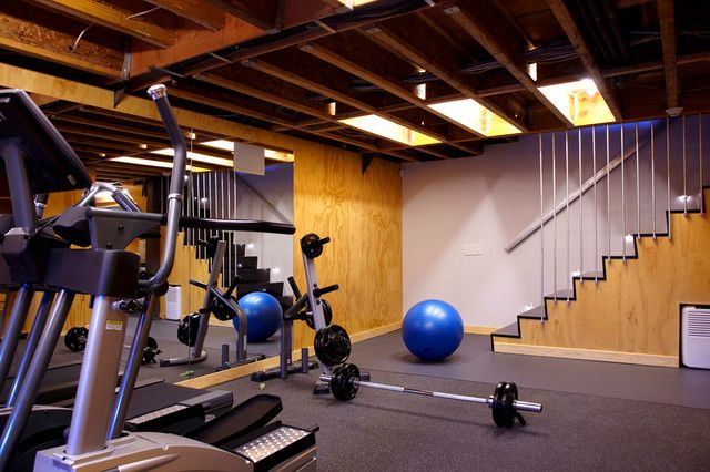 Modern Basement Home GYM Design Idea. My guys are wanting a home gym. This looks doable.