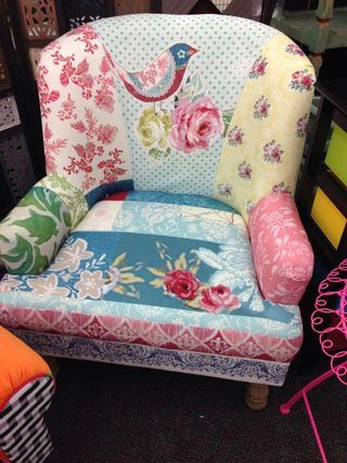Patchwork chair from Hobby Lobby. It will go in the new owner's reading room. Wow!