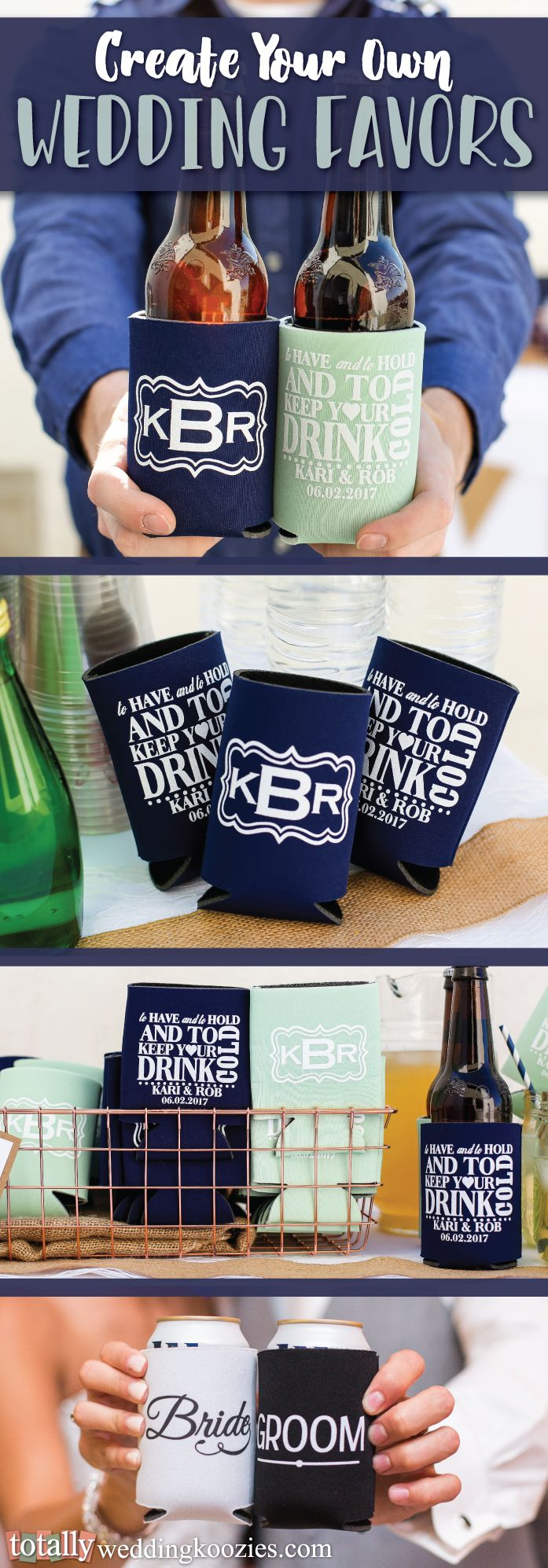 To Have & To Hold & To Keep Your Beer or Drink Cold! That's just what our #koozies do, create your perfect wedding favor with us as we have a wide selection of designs, sayings and templates to compliment your wedding! Every wedding koozie order also comes with a FREE complimentary bride & groom koozie! Use coupon code PINNER10 and receive 10% off your wedding koozie order! Sale applies to piece price only, not valid with other coupon codes and expires December 31, 2016!