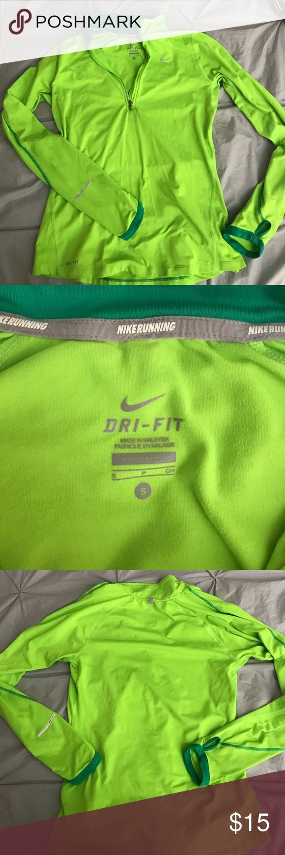 NIKE dri-fit long sleeve running top Neon green women's NIKE long-sleeve running top. Very cute & comfortable. Bright with a couple of reflective details-great for being SEEN while you run. Has thumb holes & half-zip in front. Size small. Excellent condition. Nike Tops Tees - Long Sleeve