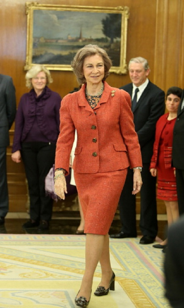 Queen Sofia of Spain attends audiences at Zarzuela Palace on 17 Jan 2013 in Madrid