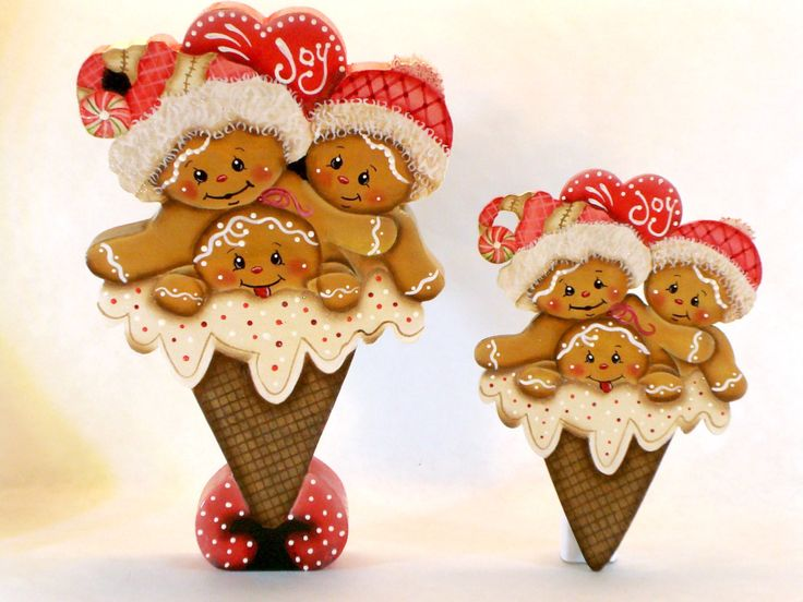 Joyful Heart Ice Cream Cone, Item #JMP334, Gingerbread Fridge Magnet and/or Shelf Sitter, ByBrendasHand, Pamela House, Winter Decor by ByBrendasHand on Etsy