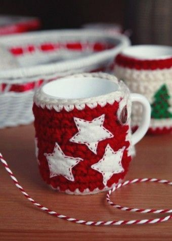 2015 Christmas crochet cozy, cute handmade Christmas tree mug crochet cozy - LoveItSoMuch.com