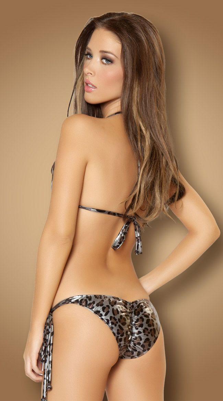 Leopard Metallic Two Piece Swimsuit, Leopard Print Tie String Bikini, Womens Cheeky Bikini, Metallic Swim Wear